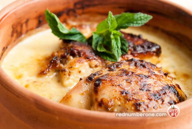 Chicken with cheese and mustard sauce