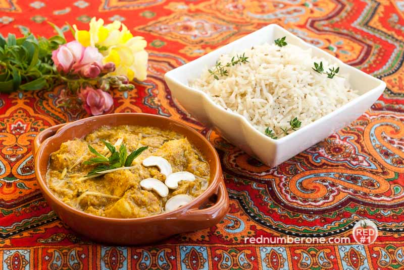 Chicken curry with Indian rice