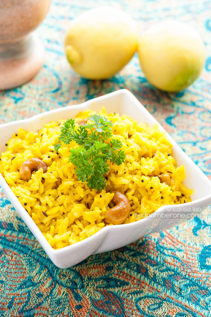 Lemon Rice with cashew - traditional South Indian turmeric rice