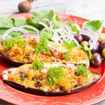 Baked eggplant stuffed with couscous