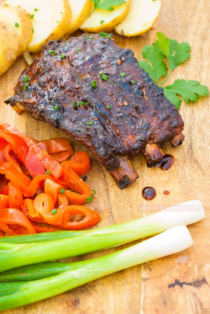 Grilled Barbecued Pork Baby Back Ribs