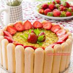 Charlotte cake with strawberry and mango