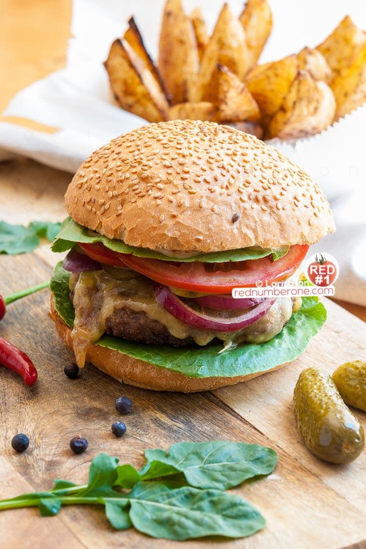 Tasty burger ready to eat