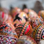 Easter eggs, hand painted beautiful and colorful closeup. Bucharest, Romania 2015.