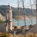 View on Kurion dam and abandoned church of St. Nicholas. Alassa village. Troodos. Cyprus.