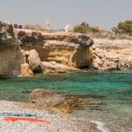 Wild beach with rocks in Dhekelia area. Cyprus.