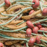 Colorful fishing nets closeup